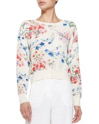 Theory Delpy Cropped Floral-print Sweater - Lyst