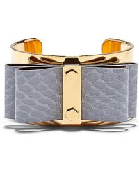 Vince Camuto Snake Leather Bow Cuff - Lyst