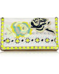 Matthew Williamson Embroidered Jacquard and Suede Clutch - White