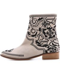 Plomo - Nuria Embroidered Booties Beige - Lyst