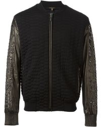 Roberto Cavalli Embellished Leather Sleeves Bomber Jacket - Lyst