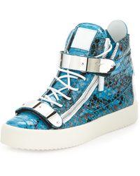 Giuseppe Zanotti Mens Snake-print High-top Sneaker - Lyst