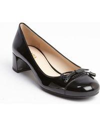 Prada  Patent Leather Cap Toe Heel Pumps - Lyst