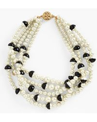 Tory Burch 'Evie' Colorblock Faux Pearl Statement Necklace - Lyst