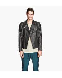 H&M Leather Biker Jacket - Lyst