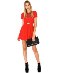 Missguided Nuria Chiffon Cut Out Skater Dress in Red - Lyst