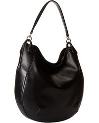 Coach Smooth Calf Leather Circle Hobo black - Lyst