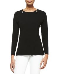 Sofia Cashmere Cashmere Pullover Sweater with Shoulder Zips - Lyst