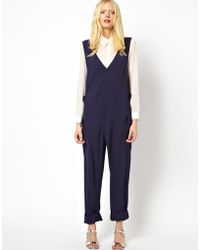 See By Chloé Worker Overalls in Fluid Twill - Blue