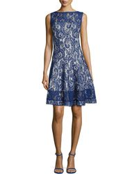 Tadashi Shoji Lace Fit-And-Flare Cocktail Dress - Lyst