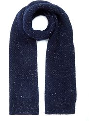Oliver Spencer Navy Textured Dongle Wool Scarf - Blue