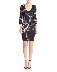 Just Cavalli Lacepaneled Printed Satin Dress black - Lyst