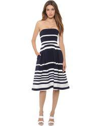 Nicholas Positano Stripe Ball Dress - Navy - Lyst