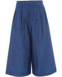 Folk Blue Chambray Cotton-blend Culottes