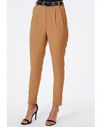 Missguided Uttara High Waisted Tailored Belted Trouser Camel - Lyst