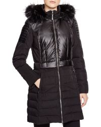 7 For All Mankind Faux Fur Trim Down Coat - Black