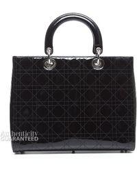Dior Pre-Owned Black Patent Large Lady Dior Bag black - Lyst