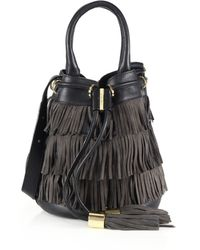 See By Chloé | Vicki Fringed Leather & Suede Bucket Bag | Lyst