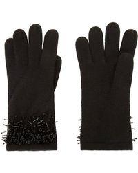 BCBGMAXAZRIA Beaded Fringe Gloves - Black