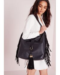 Missguided Fixed Fabric Side Tassel Slouch Shopper Black