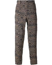 Yohji Yamamoto Printed Wide Leg Trousers - Lyst