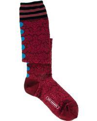 Eley Kishimoto Over The Knee La La Lyon Floral Stripe Sock - Red