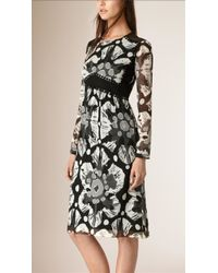Burberry | Tie-Dye Crepe and Lace Dress | Lyst