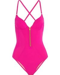 L'agent By Agent Provocateur Pink Zipped Swimsuit - Lyst