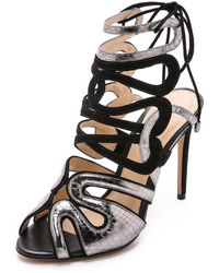 Alexandre Birman Suede Sandals - Pewter/Black - Lyst