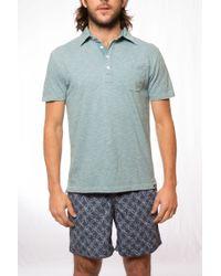 Faherty Brand Slub Indigo Feeder Stripe Jersey Polo - Lyst