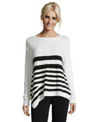 Karen Millen   White And Black Striped Wool-cashmere Blend Boat Neck Sweater   Lyst