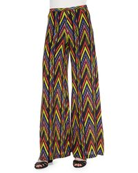 M Missoni Wide-Leg Tribal Zigzag-Print Pants - Lyst