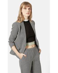 Topshop Women'S Jacquard One-Button Suit Jacket - Lyst
