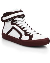 Pierre Hardy Perforated Leather & Suede High-Top Sneakers - Lyst
