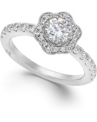 Marchesa Fleur By Certified Diamond Flower Engagement Ring In 18K White Gold (1-1/4 Ct. T.W.) red - Lyst