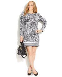 Michael Kors Michael Plus Size Long-Sleeve Paisley-Print Shift Dress - Lyst