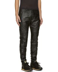 Diesel Black Gold Black Grained Leather Laproust Biker Trousers - Lyst
