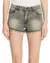 Sl8 High Rise Cut Off Denim Shorts - Gray
