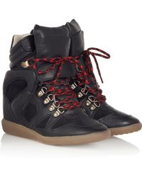Isabel Marant Étoile Buck Leather And Suede Wedge Sneakers - Lyst