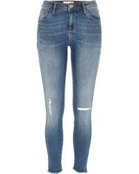 River Island Mid Wash Amelie Super Skinny Reform Jeans - Lyst