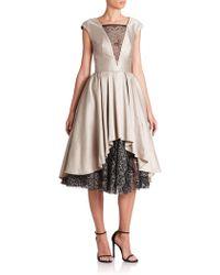ABS By Allen Schwartz Satin & Lace Cocktail Dress beige - Lyst