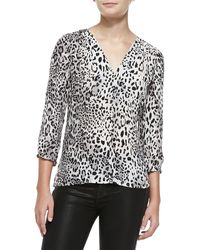 Joie Willy V-neck Leopard-print Blouse - Lyst