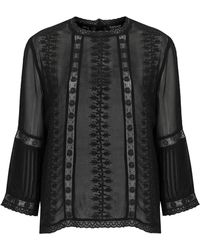 Topshop Embroidered Blouse - Lyst