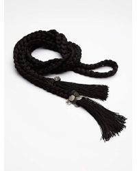 Free People Womens Weave Me Be Tassel Belt black - Lyst