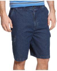 Geoffrey Beene Extender Waist Cargo Shorts - Blue