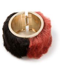 Oui, Odile! Red Furry Bracelet - Lyst
