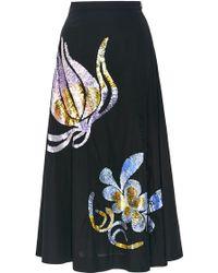 Cynthia Rowley | Embellished Cotton Sateen Midi Skirt | Lyst