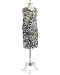 DKNY Patterned Draped Dress - Lyst