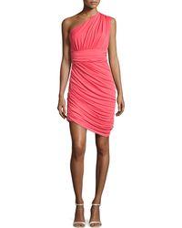Halston Heritage One-Shoulder Draped Dress pink - Lyst