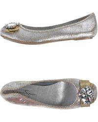 Jessica Simpson Silver Ballet Flats - Lyst